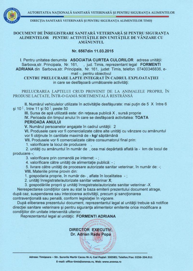 Autorizatie DSVSA Asociatia Curtea Culorilor Unitatea prelucrare laptelui