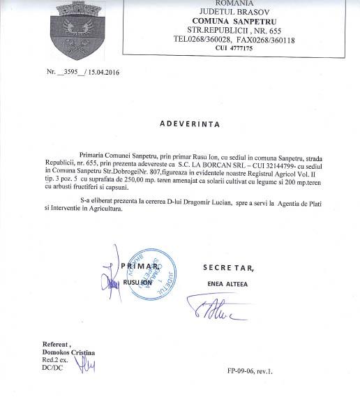 adeverinta producator La Borcan, judetul Brasov